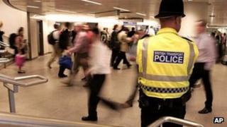 Policeman in Tube station