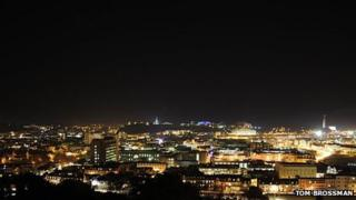 St Helier sky at night