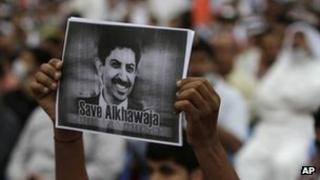 Supporter calling for Abdulhadi al-Khawaja's release in Bahrain (29 March 2012)