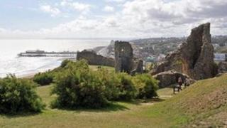 Hastings castle ruins and view of the town