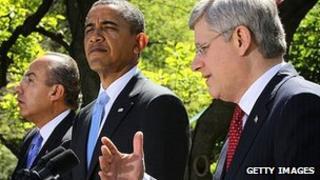 President Felipe Calderon, President Barack Obama and Prime Minister Stephen Harper at the White House. 2 April 2012