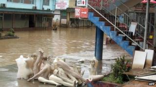 Floodwaters inundate the tourist town of Nadi on the island of Viti Levu in Fiji on 2 April, 2012