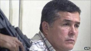 Alleged Guatemalan drug trafficker Horst Walther Overdick under armed guard in Guatemala City