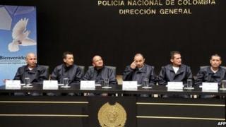 Former Farc hostages left to right: Police Officers Wilson Rojas Medina, Wilson Humberto Romero, Jose Libardo Forero, Cesar Augusto Lasso, Carlos Jose Duarte and Jorge Trujillo Solarte