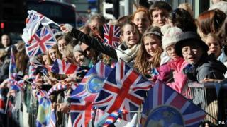 Crowds gathering outside York Minster