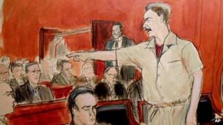 Court drawing of Viktor Bout, 5 April 2012