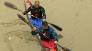 Sir Steve Redgrave setting off on canoe race