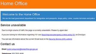 Screen grab of the Home Office website