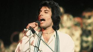 Freddie Mercury, performing with Queen on Top Of The Pops in the 1970s