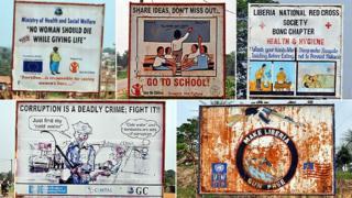 Five billboards in Bong County, Liberia, 9 April 2012
