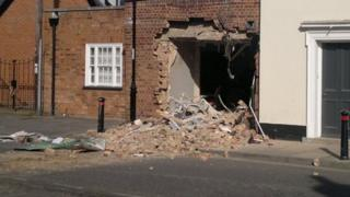 Building in Hadleigh where cash machine was ripped out by a digger