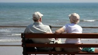 Elderly couple on Dorset coast