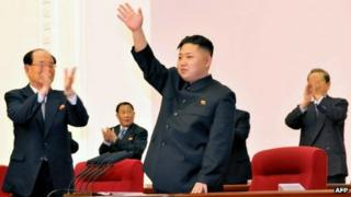 Kim Jong-un at the Workers' Party conference in Pyongyang on 11 April 2012 (Image via KCNA)