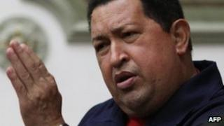 President Hugo Chavez at the Miraflores presidential palace on 11 April 2012
