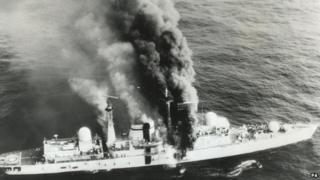 HMS Sheffield on fire