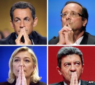 The four front-runners: Nicolas Sarkozy (top L) Francois Hollande (top R), Marine Le Pen and Jean-Luc Melenchon