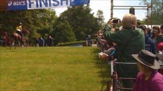 Winner crosses Man v Horse finish line