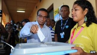 """East Timor's opposition party presidential candidate Francisco Guterres """"Lu Olo"""" at a polling centre in Dili on 16 April, 2012"""