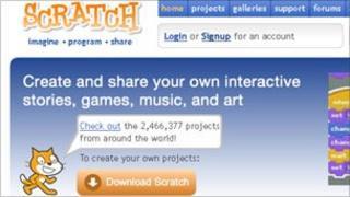 Screengrab of Scratch homepage
