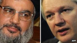 Hassan Nasrallah and Julian Assange