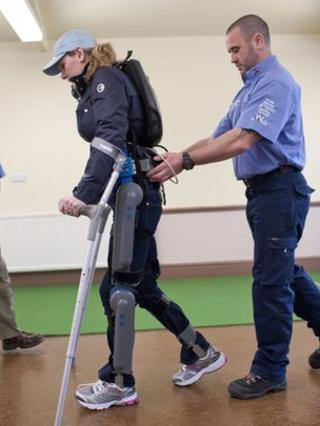 "Claire Lomas wearing the ""robot legs"""