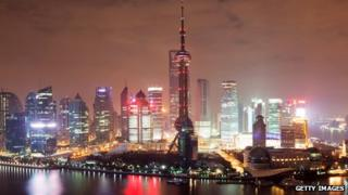 Skyline of Shanghai's financial district Pudong