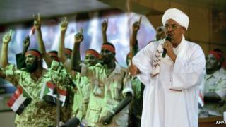 President Omar al-Bashir addresses a youth rally of his political party, 18 April 2012