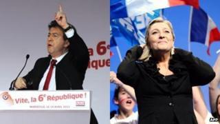 Jean-Luc Melenchon (14 April) and Marine Le Pen (17 April) composite