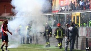 Genoa captain Marco Rossi addresses supporters
