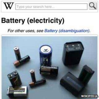 """A screenshot of the entry for """"batteries"""" on Wikipedia"""
