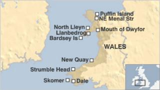 Map showing 10 potential Marine Conservation Zone areas around Wales