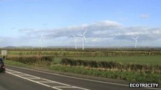 Ecotricity artist impression of wind turbines at Black Ditch in West Huntspill