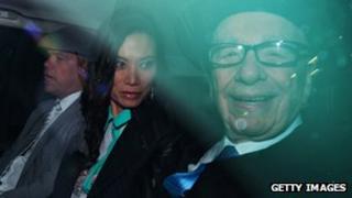 (left to right) Lachlan Murdoch, Wendi Deng, Rupert Murdoch
