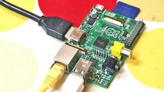 Raspberry Pi with SD memory card attached