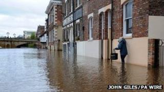 Flood water in York