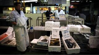 A fish stall at Billingsgate Market