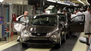 A Honda Civic on the production line in Swindon
