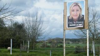 Marie Le Pen poster in Picardy