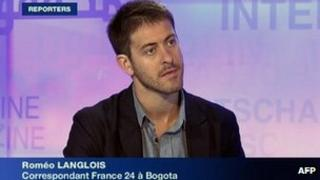 TV grab of Romeo Langlois appearing on France 24 in 2010