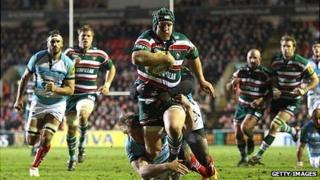 Thomas Waldrom of Leicester Tigers is tackled just short of the try line during a match with Worcester Warriors