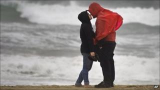 Couple on beach in rain