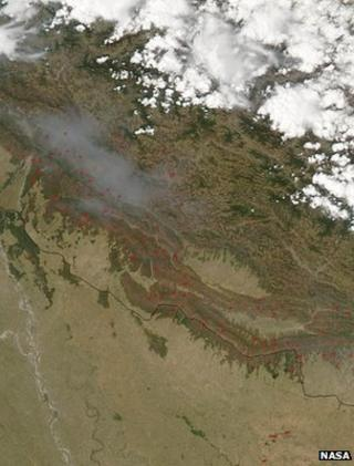 Satellite imagery highlighting the location of Nepal's fires (Image: Nasa)