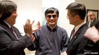 Handout picture from the US embassy in Beijing showing dissident Chen Guangcheng being received at the embassy