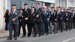 Guernsey veterans on parade on Liberation Day