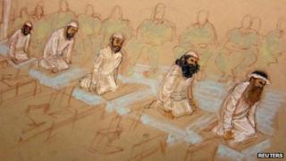 9/11 defendants pray in courtroom at Guantanamo Bay