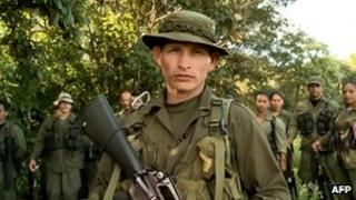 Video grab of a man identifying himself as Farc commander Anzicar