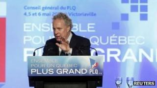 Quebec's Premier Jean Charest speaks at the Liberal Party general Victoriaville, Canada 6 May 2012