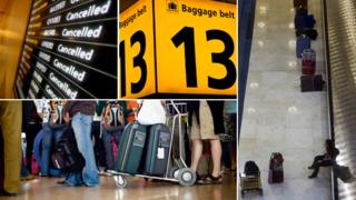 From top left: Cancellation board, luggage reclaim, sign, luggage reclaim, passengers in queue