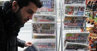 Newspaper stand in Turkey