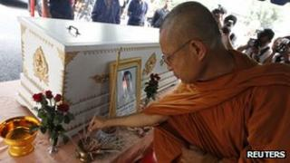 Buddhist monk at the funeral